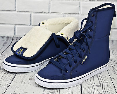 Adidas Originals Honey Hi Shearling Winter Women (( UK Size 7 EUR 40.5 )) Blue