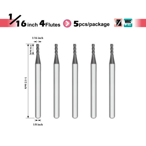 "ISE Carbide Square End Mill 5pc 4 flutes Diameter 1//16/"" Speed Tiger"