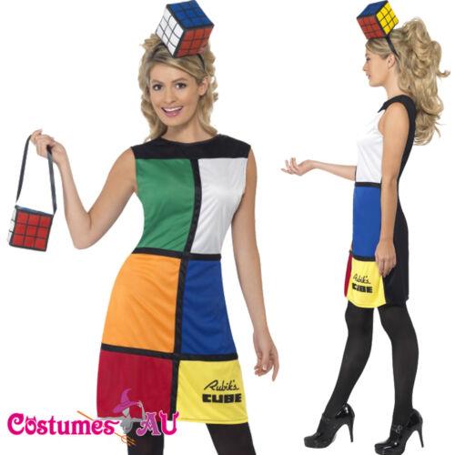 Headband Ladies Rubik/'s Cube Costume Rubiks 80s 1980 Rubix Fancy Dress Bag