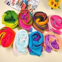 Women Gradient Rainbow Color Soft Voile Long Scarf Chiffon Neck Wrap Shawl LA