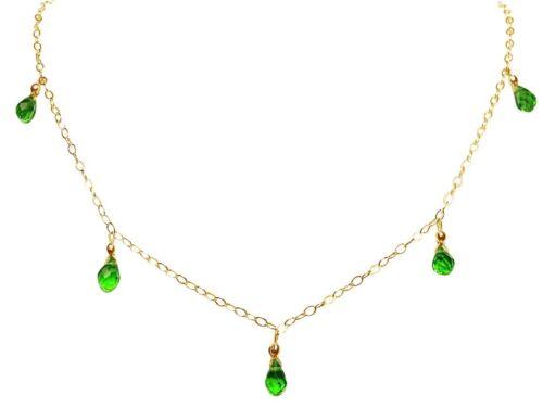 Halskette Tropfen Gemshine Facettiert Damen Peridot Grü Vergoldet