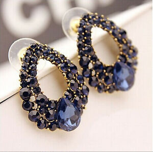 1-Pair-New-Fashion-Women-Lady-Elegant-Blue-Crystal-Rhinestone-Ear-Stud-Earrings