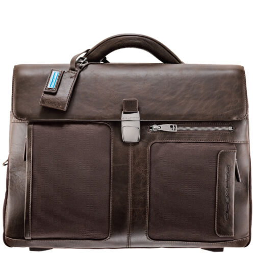 Piquadro Frame brown organized briefcase w two gussets, mobile case CA1045FRM