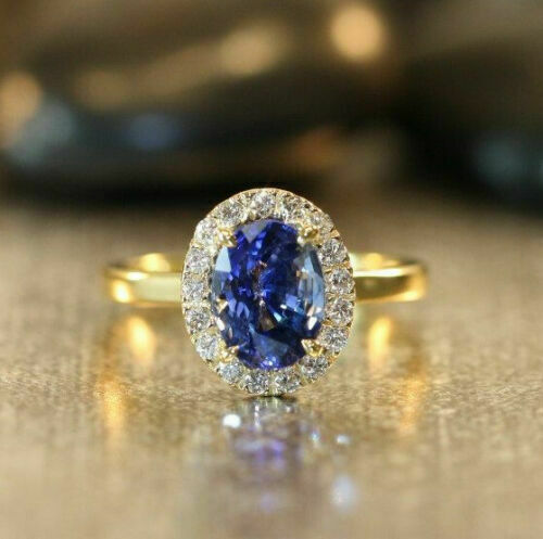 14K Yellow Gold Finish 2Ct Oval Cut Blue Sapphire /& Diamond Halo Engagement Ring