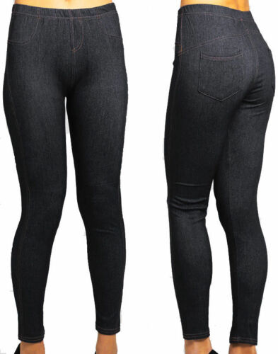 New Women/'s Ladies Plus Size Stretchy Denim Look Skinny Jeggings Leggings 14-34