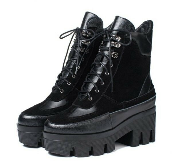 New Womens Roma Motorcycle Chunky Chunky Chunky Heels Platform Lace Up Ankle Boots Riding shoes 3808e6