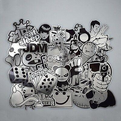 Stickerbomb 25 Mixed Stickers Black /& White Laptop Phone Skateboard School Drift