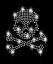 Pedrería calavera 7,5cm huesos Skull cráneo perchas imagen HotFix aplicación
