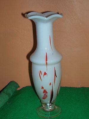 Déco Design Vintage Très Joli Vase Année 70 Opaline Blanc Inclusions Couleurs