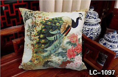 Velvet Peacock Pillowcase Peacock Flower Cushion Cover Double Sides Printed