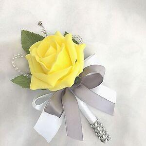 Single yellow rose buttonhole diamante crystal artificial wedding image is loading single yellow rose buttonhole diamante crystal artificial wedding mightylinksfo