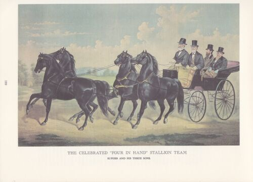 "1974 Vintage Currier /& Ives HORSE RACING /""STALLION TEAM 4 IN HAND/"" COLOR Litho"