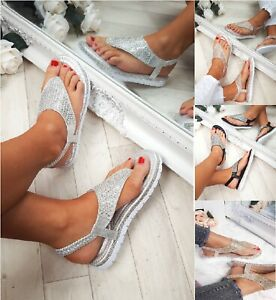 49eaa7245767 LADIES WOMENS FLAT LOW WEDGE PLATFORM HEEL DIAMANTE SUMMER SANDALS ...