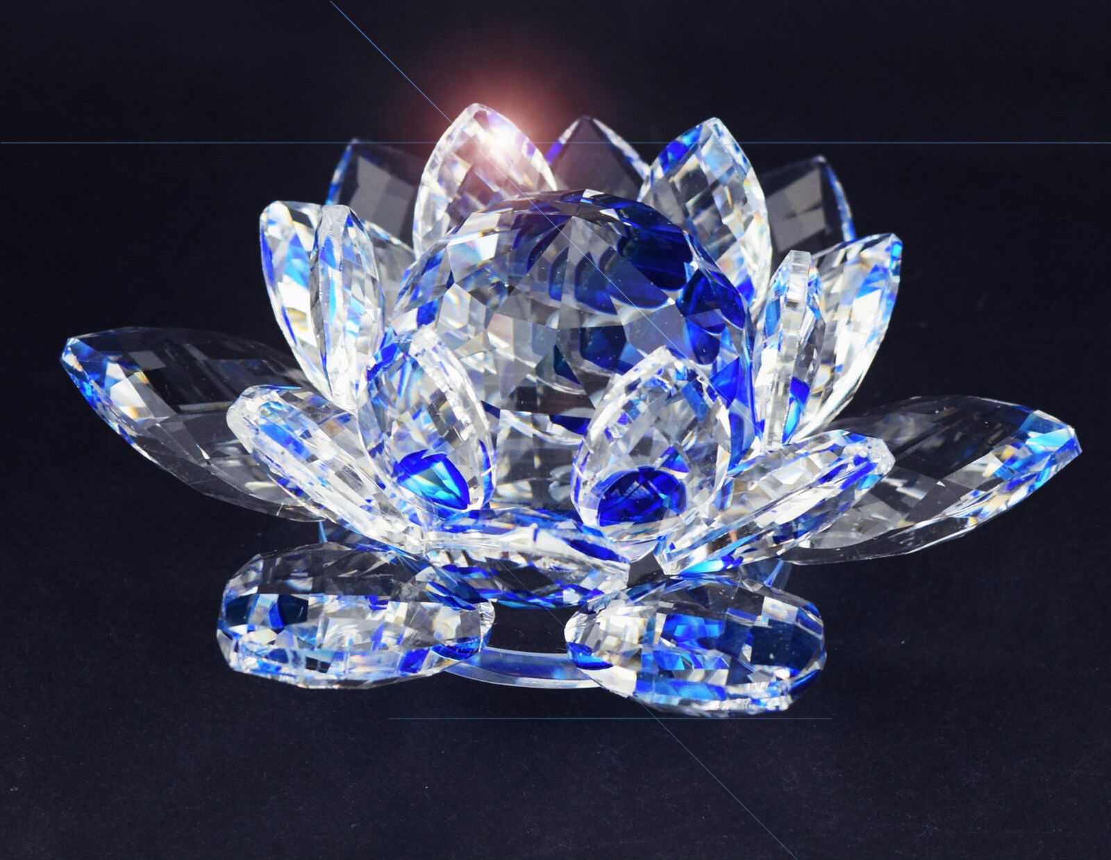 Large Blue Crystal Lotus Flower Ornament With Gift Box Crystocraft