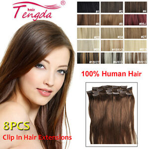 CLIP-IN-EXTENSIONS-100-NEW-REAL-HUMAN-HAIR-THICK-8PCS-100G-140G-200G