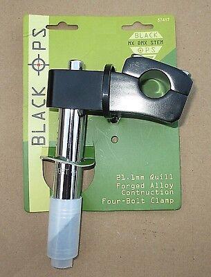 Black Ops BMX Bike Quill Stem 21.1mm Clamp Black