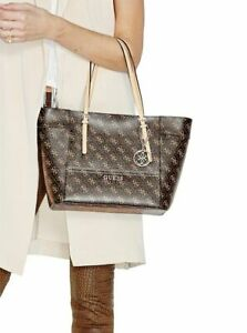 Details about NEW GUESS BROWN DELANEY LOGO CLASSIC TOTE BAG HANDBAG PURSE