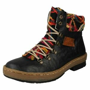 Ladies-Rieker-Multi-Coloured-Knitted-Trim-Ankle-Boots-Z6743