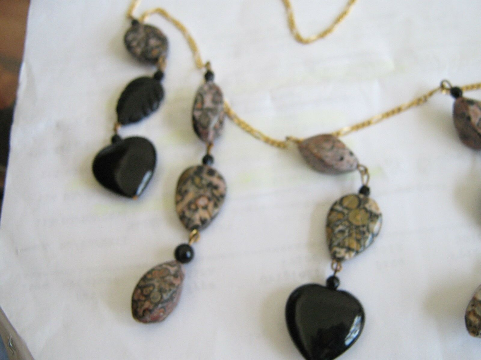Necklace , Vintage , Black , Grey , Stone , Dangles , 2