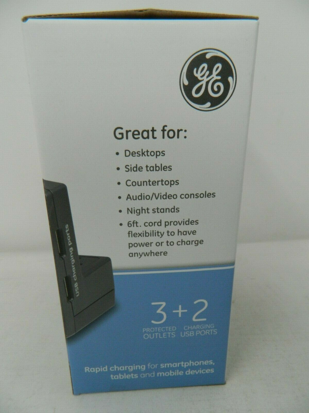 GE 3 Outlet 2 USB Tabletop Surge Protector W//Rapidcharge USB 540J 2.1A//10W 11925