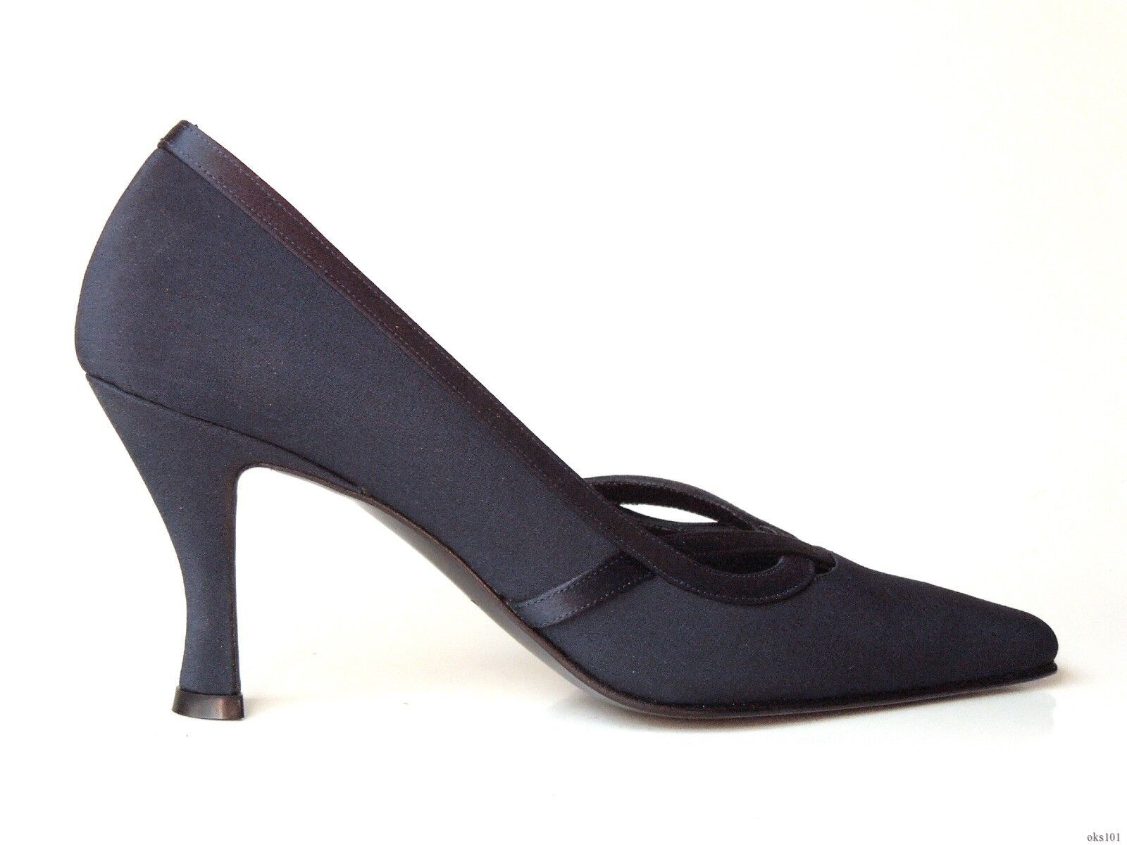 NEU Versani 7010 navy satin pointy toe PUMPS Schuhes  - classy