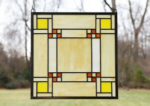 Details About Stained Gl Window Frank Lloyd Wright Panel Prairie Style 15 75 X