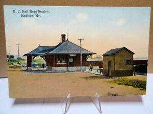 1910-Postcard-Maine-Central-Railroad-Station-Madison-Maine