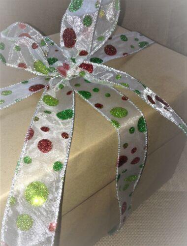 Christmassy Glitter Dots rouge /& vert sur Sheer Organza-De luxe Fil Bord Ruban