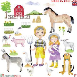 Farm-Animal-Wall-Stickers-Nursery-Farmyard-Baby-Girl-Boy-Kids-Bedroom-Room-Large