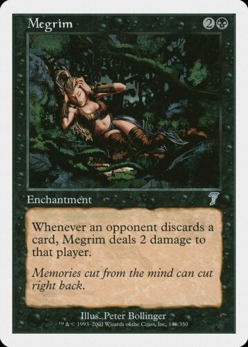 Megrim 7th Edition HEAVILY PLD Black Uncommon MAGIC THE GATHERING CARD ABUGames