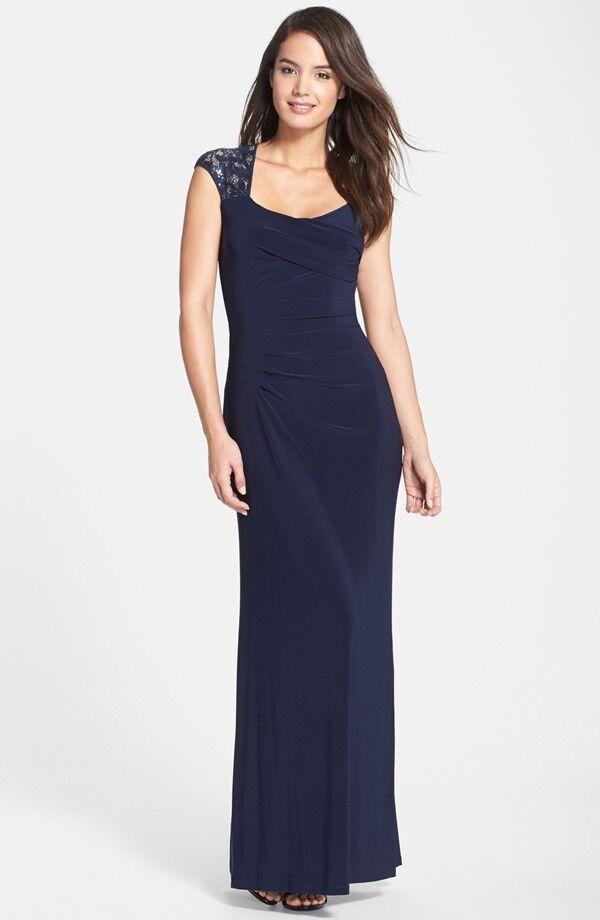 Sequin Lace Jersey Gown by Lauren Ralph Lauren (size 8P)