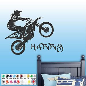 Image is loading Personalised-Motorbike-Wall-Sticker-Dirt-Boys-Room-Art- & Personalised Motorbike Wall Sticker Dirt Boys Room Art Decal ...