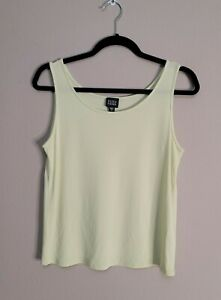 Eileen Fisher Green Silk Georgette Crepe Scoop Neck Shell Tank Top Size Small