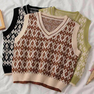 Women-Preppy-Style-V-Neck-Knitted-Vest-Argyle-Plaid-Pullover-Sweater-Tank-Top
