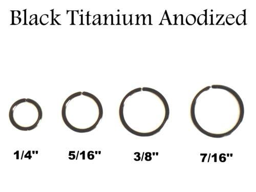 16G 18G 20G Black Titanium Anodized Seamless Nose Tragus Cartilage Hoop Ring