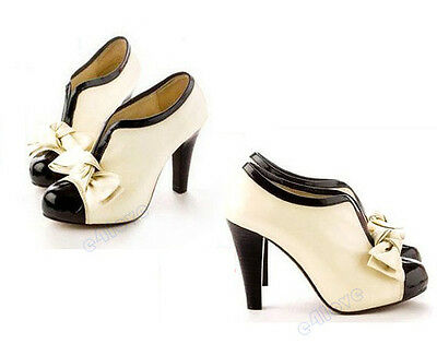 New Sexy Women Fashion Ankle Shoes Boots High Heels Platform Bow Pumps Beige