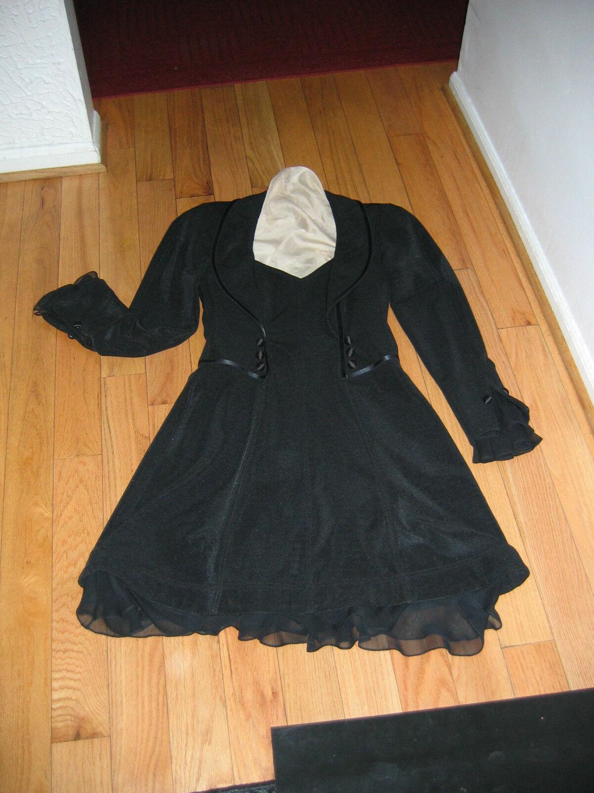 Vintage schwarz Tadashi Shoji  Dress Large Stretch Polyester GORGEOUS