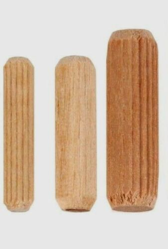 HARDWOOD WOODEN DOWELS CHAMFERED FLUTED FURNITURE PIN PLUGS WOOD 6mm 8mm 10mm
