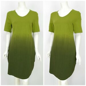 Womens-Deerberg-by-OSKA-Tunic-Dress-Green-Cotton-Short-Sleeve-Size-M