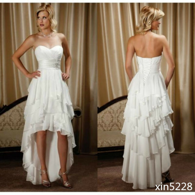 High Low A Line Country Wedding Dresses Chiffon Ruffles Bridal Gowns ...