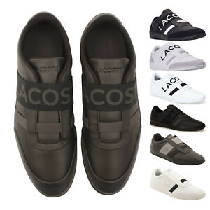 Mens-Lacoste-MISANO-ELASTIC-Slip-On-Leather-Sneakers-NEW