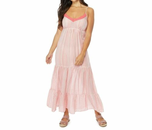 BNWT The Collection Petite Womens Peach Striped V-Neck Petite Maxi Dress size 6p