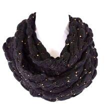 B60 Open Weave Soft Yarn Knit Black Metallic Bronze Gold Sequin Infinity Scarf