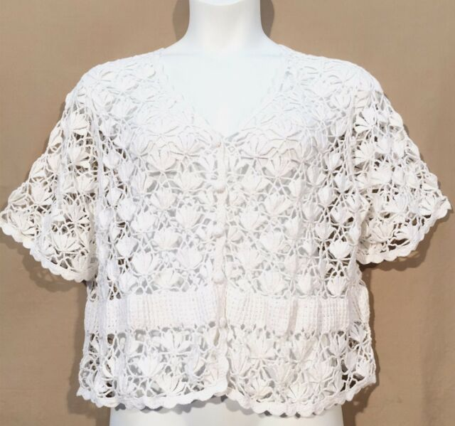 JESSICA LONDON crochet knit BOHO cardigan sweater SHRUG 22 24 white i4