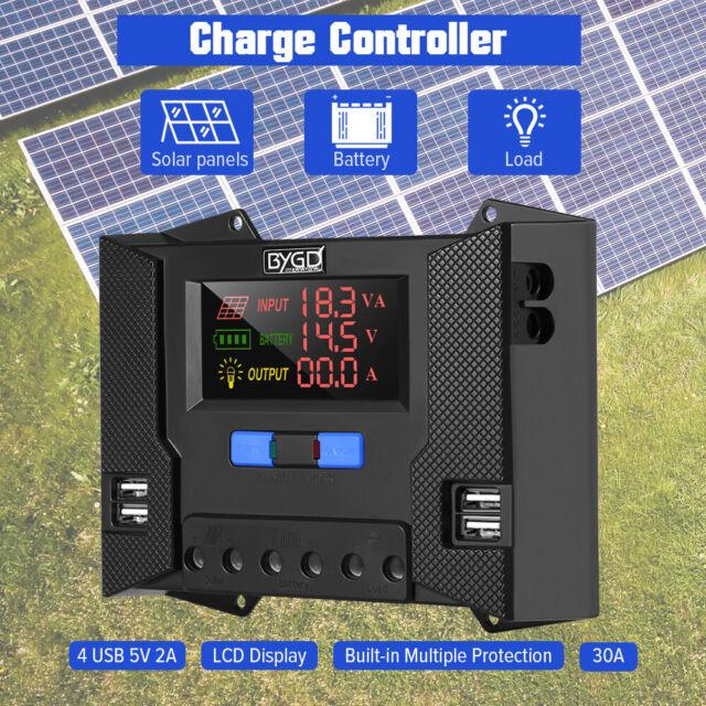 30A Solar Charge Controller Regulator 12V/24V LCD Display Charger USB 5V Output