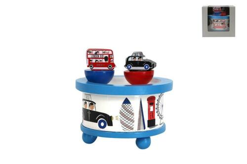 Gisela Graham London Range Spinning Bus /& Taxi Painted Wooden Music Box