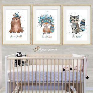 Details About Woodland Animal Nursery Wall Prints Boys Decor