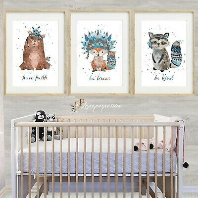 Woodland Animal Nursery Wall Prints Boys Wall Prints Woodland Decor Ebay