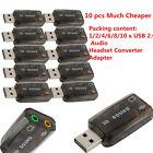 Lot USB 2.0 Audio Headset Microphone Jack Converter Sound Card Adapter SL