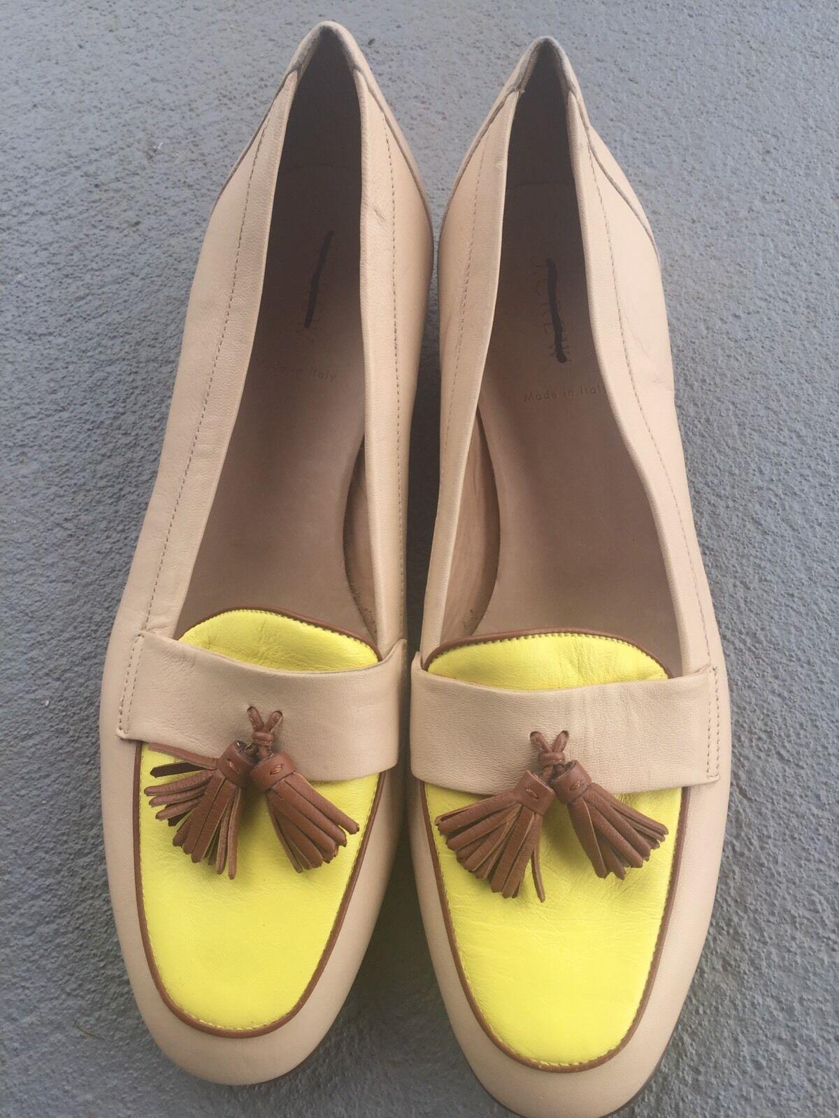 J CREW BIELLA TASSEL LOAFERS TWO TONE Schuhe SOFT SAND LEATHER FLAT Schuhe TONE 45914 NEW 10 df567f